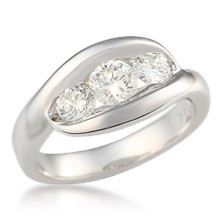 Three Stone Wave Engagement Ring