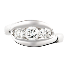 Three Stone Wave Engagement Ring  - top view