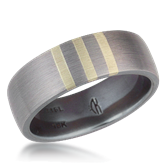 Three Vertical Stripe Inlay Wedding Band