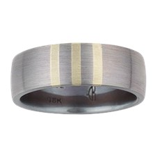 Three Vertical Stripe Inlay Wedding Band - top view