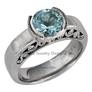 Modern Curls Engagement Ring with Aquamarine