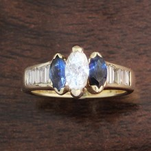 Diamond & Sapphire Three Stone Engagement Ring - top view