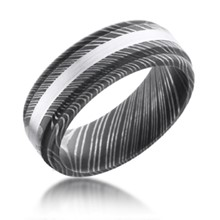 Center Stripe Damascus Steel Band with Raised Rails