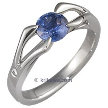 Carved Branch Engagement Ring with Blue Sapphire and Diamond Accents