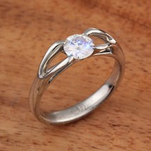 Moissanite Carved Branch Engagement Ring