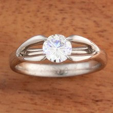 Moissanite Carved Branch Engagement Ring  - top view