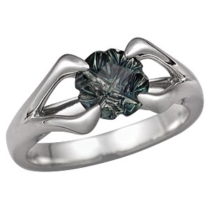 Carved Branch Unique Engagement Ring with Designer Cut Green Sapphire