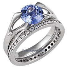 Carved Branch Unique Engagement Ring with Round Blue Sapphire and Diamond Wedding Band