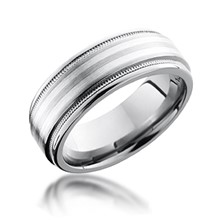 Millegrain Double Silver Inlay Band