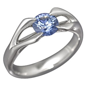 Carved Branch Unique Engagement ring with Blue Sapphire