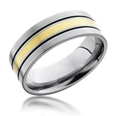 Flat Darkened Groove Gold Inlay Band