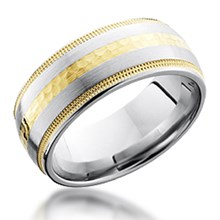 Gold Inlay Band with Gold Millegrain