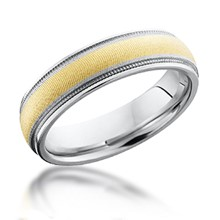 Gold Inlay Band with Millegrain
