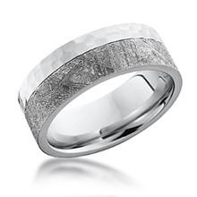 hammered two tone meteorite band - Meteorite Wedding Ring