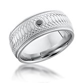 Moire Patterned Band with Diamond