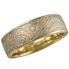 Champagne Mokume Wedding Band in Yellow Gold