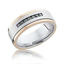 Gold Inlay Diamond Channel Band