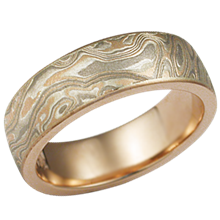 Champagne Mokume Gane Wedding Band in Rose Gold