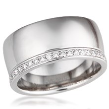 Diamond Side Channel Wedding Band