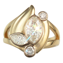 Marquise Bevel Anniversary Ring - top view