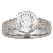 Mokume Pave Halo Engagement Ring with Cathedral - top view