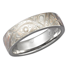 Champagne Mokume Gane Wedding Band with a Heavy Etch and High Polish