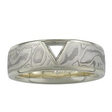 Macle Mokume Wedding Band - top view