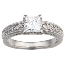Vintage Scrollwork Solitaire Engagement Ring - top view