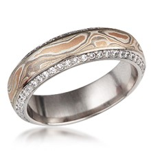 Mokume Juicy Double Diamond Wedding Band