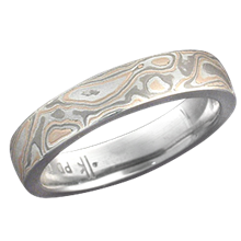 Champagne Mokume Gane Wedding Band with a Light Etch