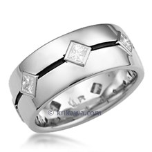 Grooved Princess Wedding Band