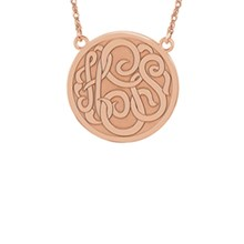 25mm Three Letter Script Circle Monogram Necklace