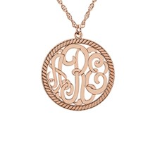 Three Letter Script Rope Circle Monogram Necklace
