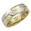 Mokume Puzzle Ring Yellow Gold and Summer Mokume with High Polish and Heavy Etch