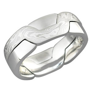 White Mokume Puzzle Ring