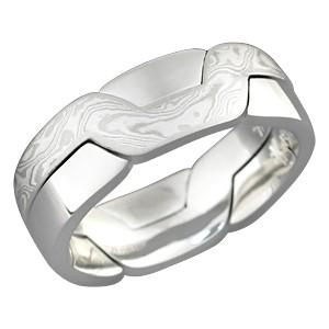 White Mokume Puzzle Ring