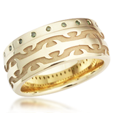 Flush Diamond Tribal Thorn Wedding Band