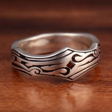 Tribal Garnet Wedding Band, Size 13