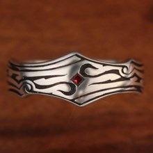 Tribal Garnet Wedding Band - top view