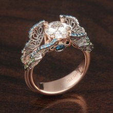 Rose Gold Butterfly Engagement Ring