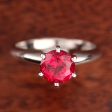 Ruby Solitaire Engagement Ring - top view