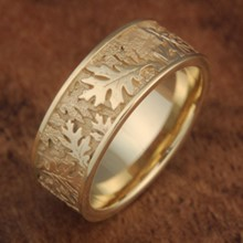 Oak Leaf Wedding Band, Size 6