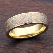 Champagne Mokume Wedding Band with 18k Yellow Gold Liner