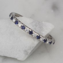 Sapphire and Diamond Wedding Band Size 5