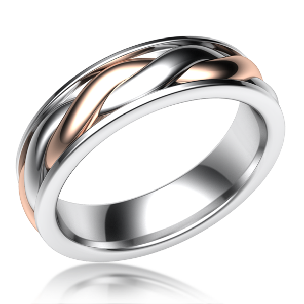 Twist Mens Two Tone Wedding Band