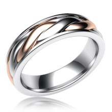 Twist Mens Two-Tone Wedding Band