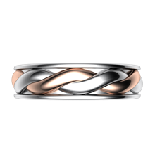 Twist Mens Two-Tone Wedding Band - top view