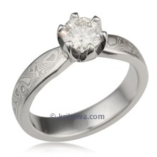 Mokume Solitaire Tapered Engagement Ring with Prongs