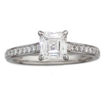 Asscher Center and Side Stone Pave Engagement Ring - top view