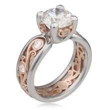 Carved Curls Engagement Ring with Rails